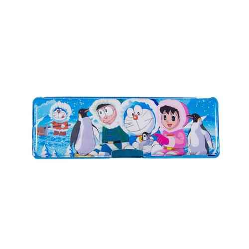 Doraemon Embossed Pencil Box Stationery Box With Embossed Pencil Sharpener - 8 Inch - Blue
