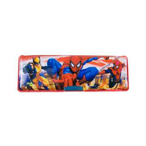 Spiderman Embossed Pencil Box Stationery Box With Embossed Pencil Sharpener - 8 Inch - Red