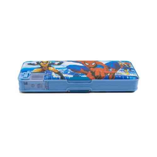 Pack of 2 - Pencil Box Stationery Box With Pencil Sharpener - 9x3 Inch - Spiderman