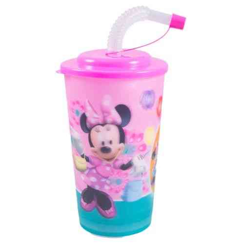 Beverage Water Cold Drink Soft Drink Drinking Cup Travel Cup With Straw - 6 Inch - Minnie Mouse
