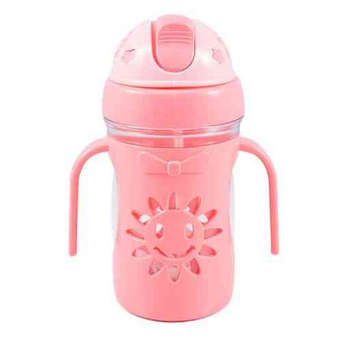 Small Water Bottle Flower Design with Straw for Kids - Pink