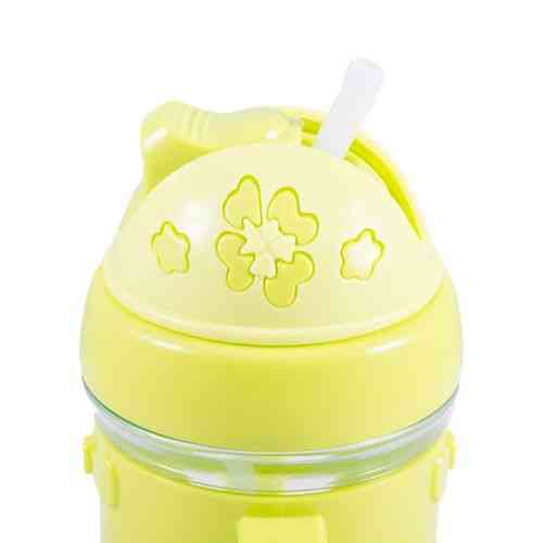 Small Water Bottle Flower Design with Straw for Kids - Yellow