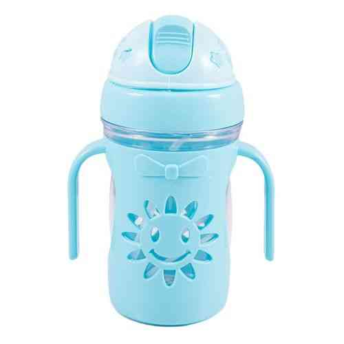Small Water Bottle Flower Design with Straw for Kids - Blue