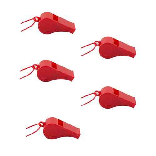 Pack of 5 - Sports Whistle With Rope - Red