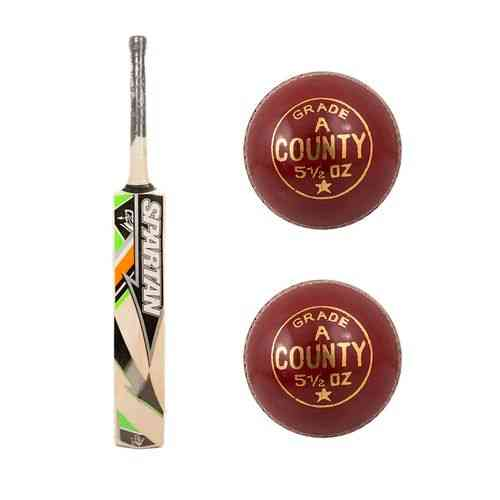 Pack of 3 - High Quality Hard Ball Cricket Bat with Two Original Grade A Hard Ball Cock Balls