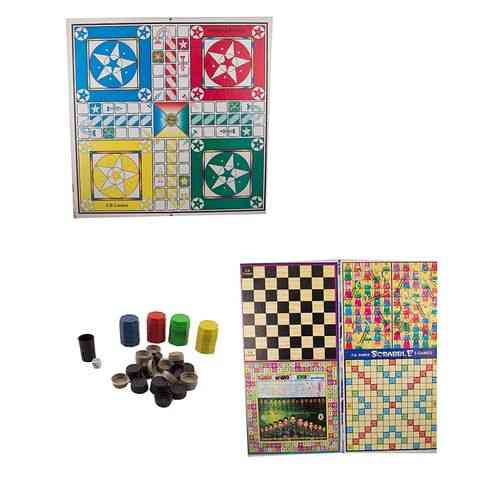 "5 In 1 Ludo Board Game - 21X21"" - With Goti Pack"