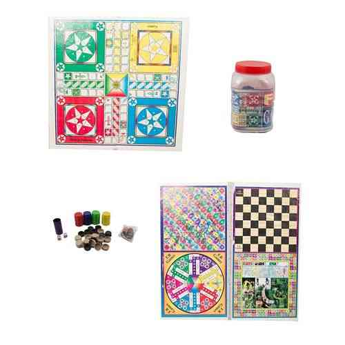 "5 In 1 Ludo Board Game - 26X26"" - With Goti Pack"