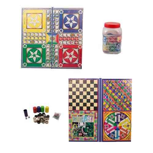 "5 In 1 Ludo Board Game - 30X30"" - With Goti Pack"
