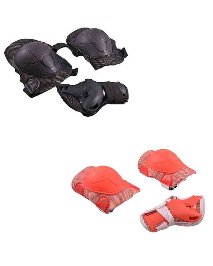 Pack of 4 Soft Adjustable Knee and Elbow Protection Pads for Skating Football etc (High Quality) - Multicolour - (SP-266-264)