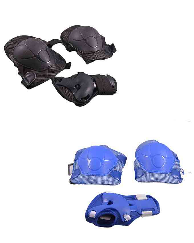 Pack of 4 Soft Adjustable Knee and Elbow Protection Pads for Skating Football etc (High Quality) - Multicolour - (SP-262-264)