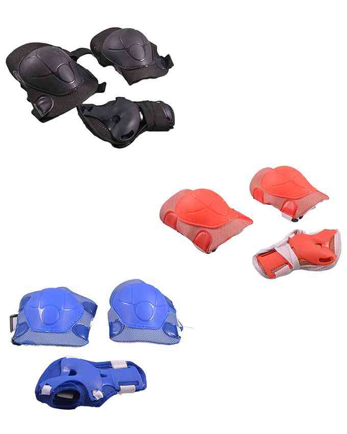 Pack of 6 Soft Adjustable Knee and Elbow Protection Pads for Skating Football etc (High Quality) - Multicolour - (SP-262-266-264)
