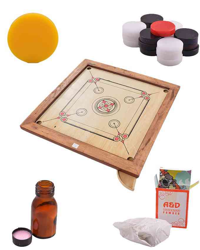 Set of 5 Good Quality Carrom Board and Goti and Striker and Carrom Powder and Carrom Friction Reducer - 33 Inch - (SP-290-292-294-296-297)
