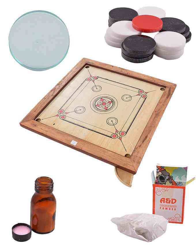 Set of 5 Good Quality Carrom Board and Goti and Striker and Carrom Powder and Carrom Friction Reducer - 28 Inch - (SP-291-296-295-296-297)