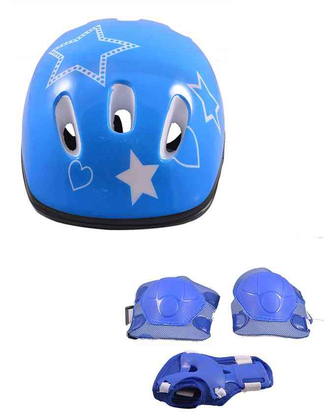 Pack of 3 Soft Adjustable Knee and Elbow Protection Pads with Head Protection Helmet for Skating Football etc (High Quality) - Blue - (SP-259-262)
