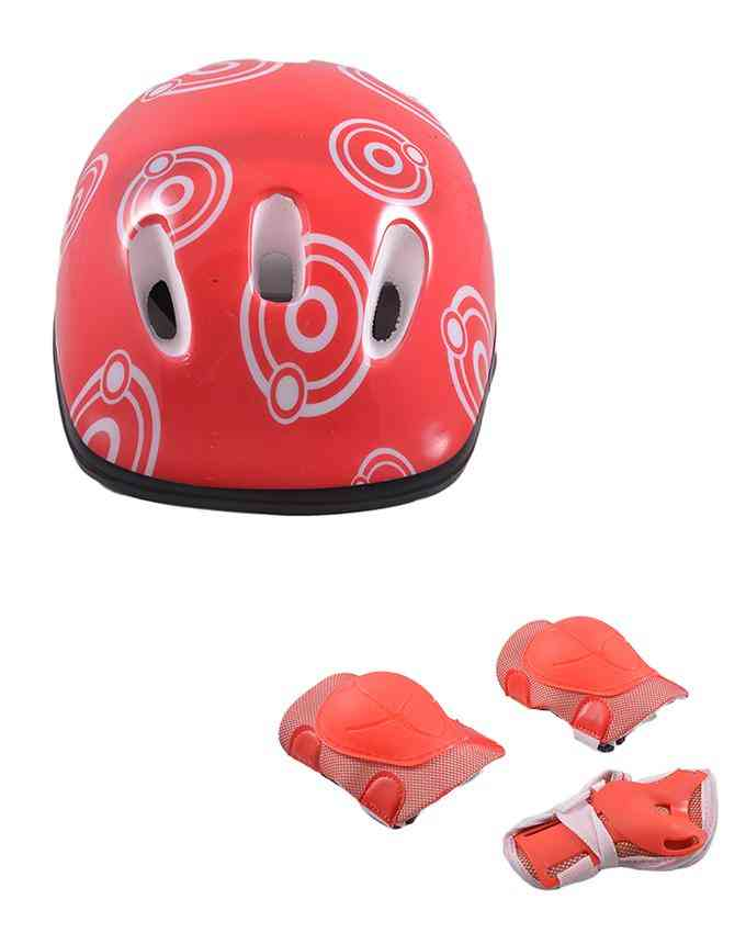 Pack of 3 Soft Adjustable Knee and Elbow Protection Pads with Head Protection Helmet for Skating Football etc (High Quality) - Red - (SP-260-263)