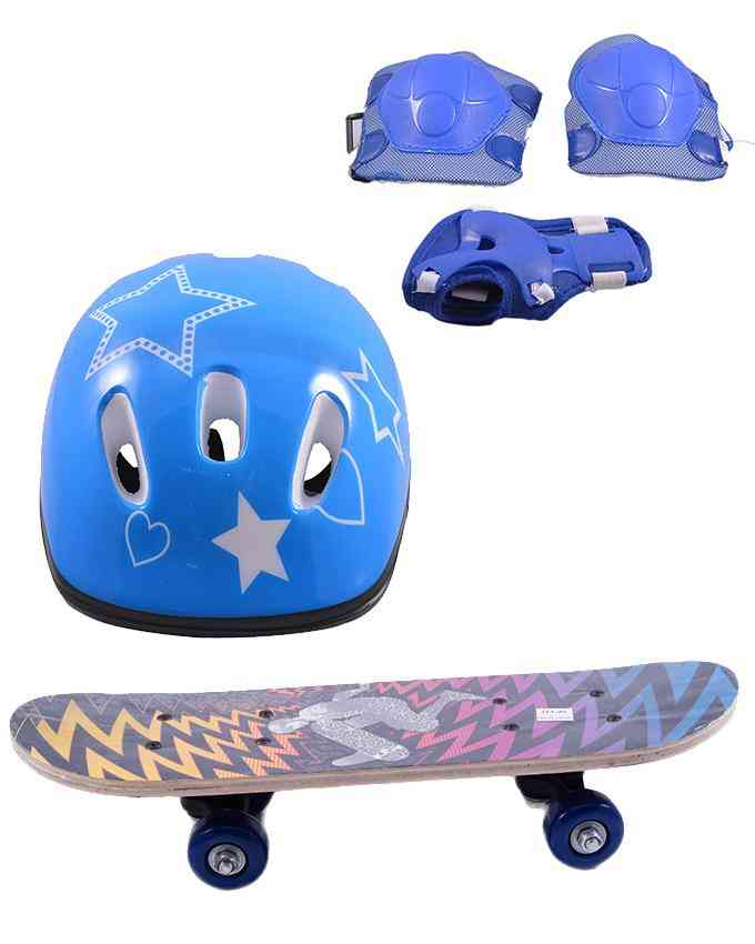 Pack of 4 High Quality Skate Board(5 Inch x 17 Inch) and Head Protection Helmet and Adjustable Knee and Elbow Protection Pads - Multicolour - (SP-137-259-262)