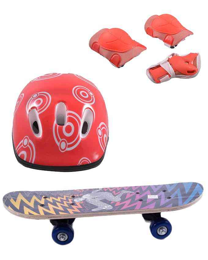 Pack of 4 High Quality Skate Board(5 Inch x 17 Inch) and Head Protection Helmet and Adjustable Knee and Elbow Protection Pads - Multicolour - (SP-137-260-263)