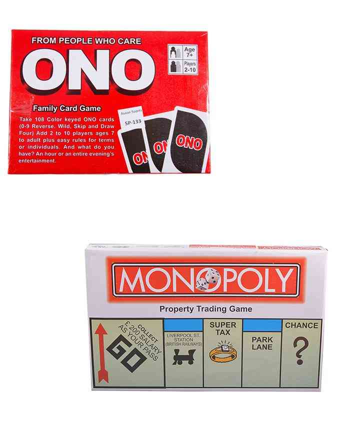 Set of 2 Indoor Games (Full Size Crorepati Monopoly Game Set English Language and UNO Family Game) - Multicolour - (SP-135-133)