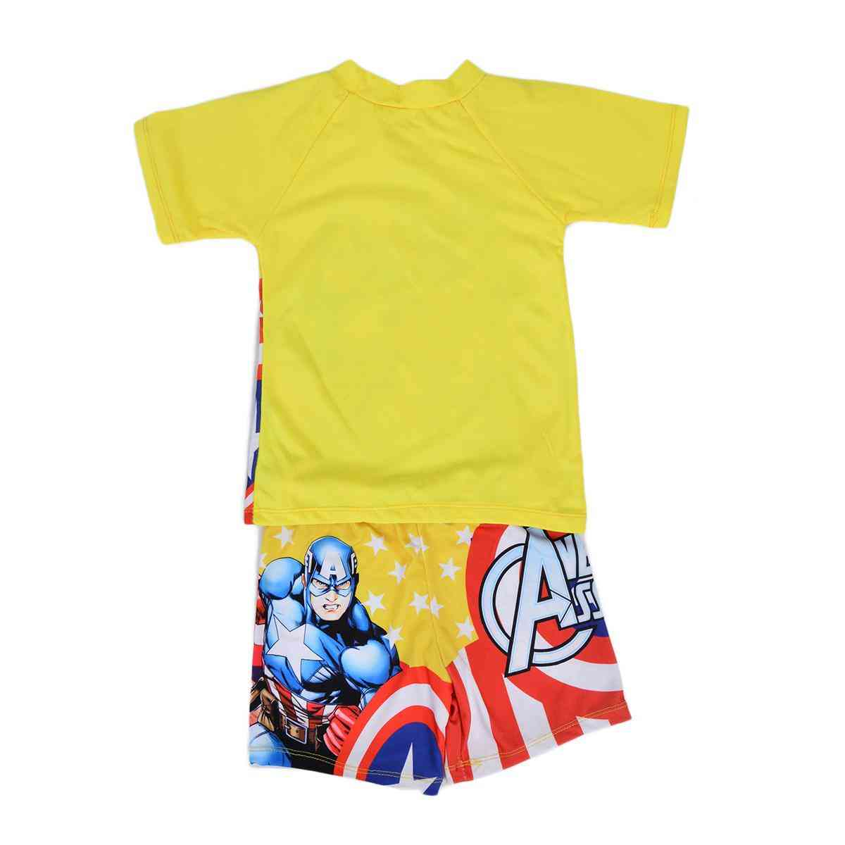 Captain America Swimming Suit for Boys - Yellow (2 to 3 Years)