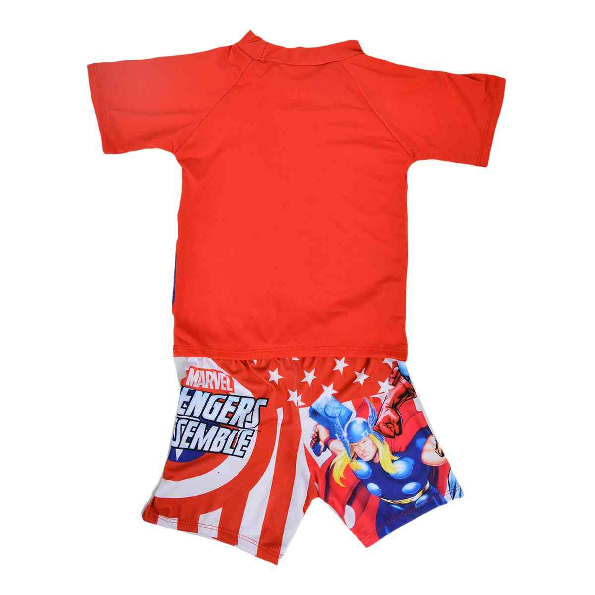 Captain America Swimming Suit for Boys - Red (2 to 3 Years)