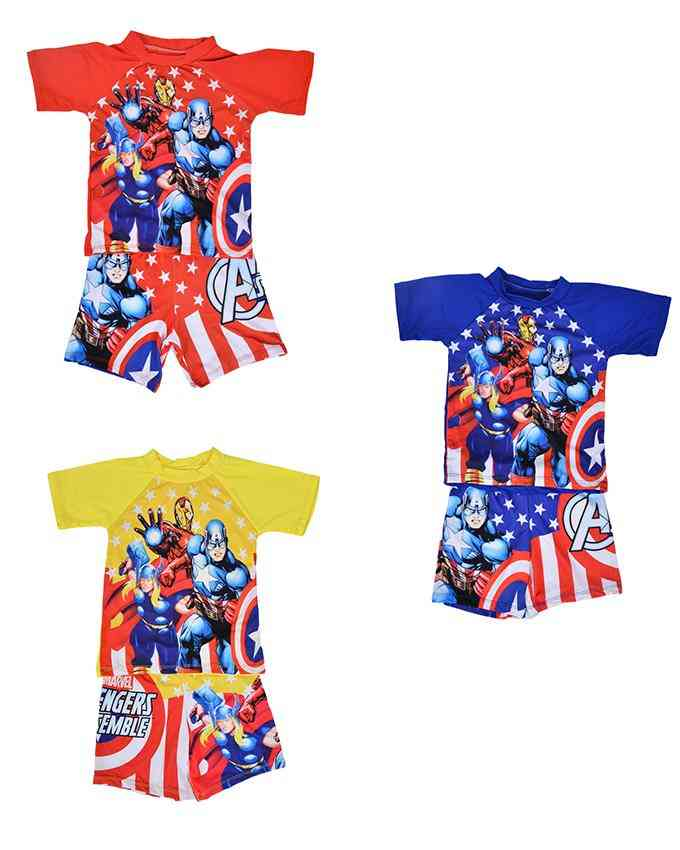 Pack of 3 Cartoon Character Swimming Suit for Boys - Multicolor (2 to 3 Years)