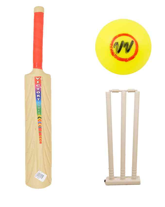 Set of 3 - Plastic Bat, Plastic Ball, and Plastic Wickets Set for 7-8 Year Kids