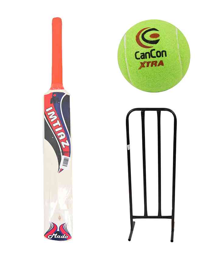 Set of 3 - Soft Bat, Tennis Ball, and Steel Wickets Set for 3-4 Year Kids