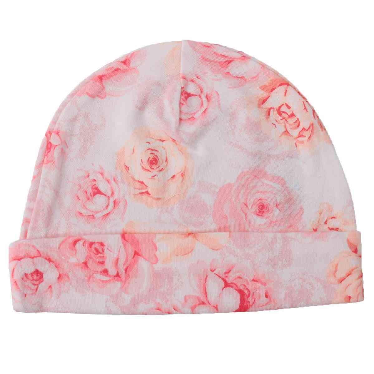 Asaan Bachpan Baby Cap for 0 - 6 Month Baby  Pink with Flowers