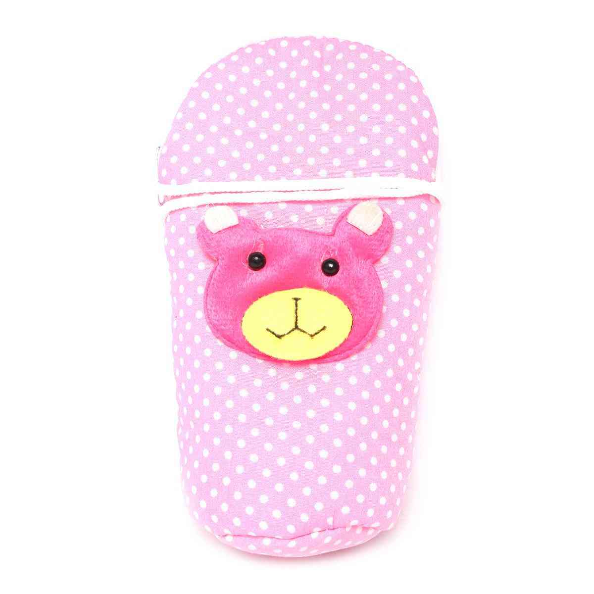 Vitamin Baby Cartoon Character 7x4 Inches Feeder Cover for Feeder Bottle with String  Pink
