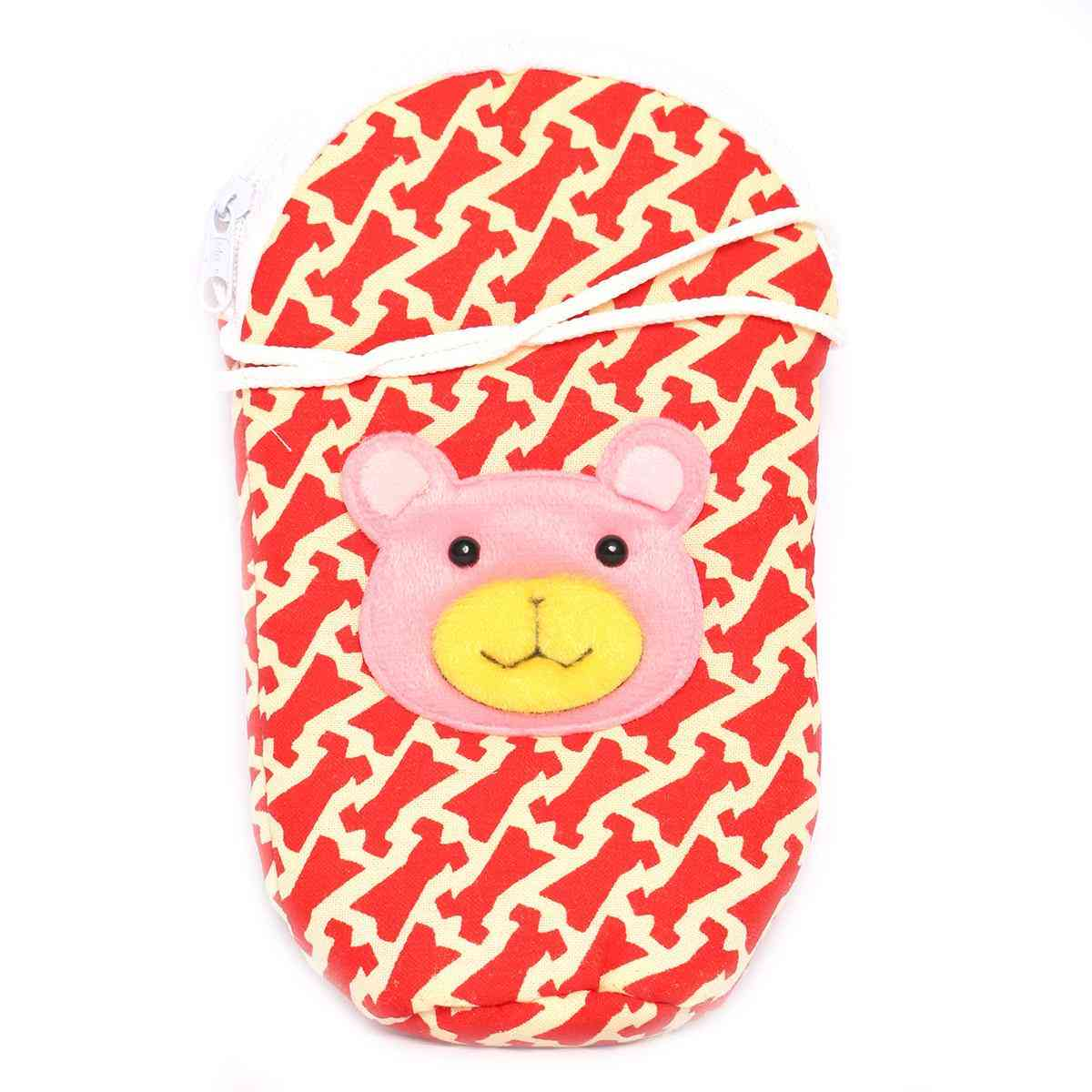 Vitamin Baby Cartoon Character 7x4 Inches Feeder Cover for Feeder Bottle with String  Red