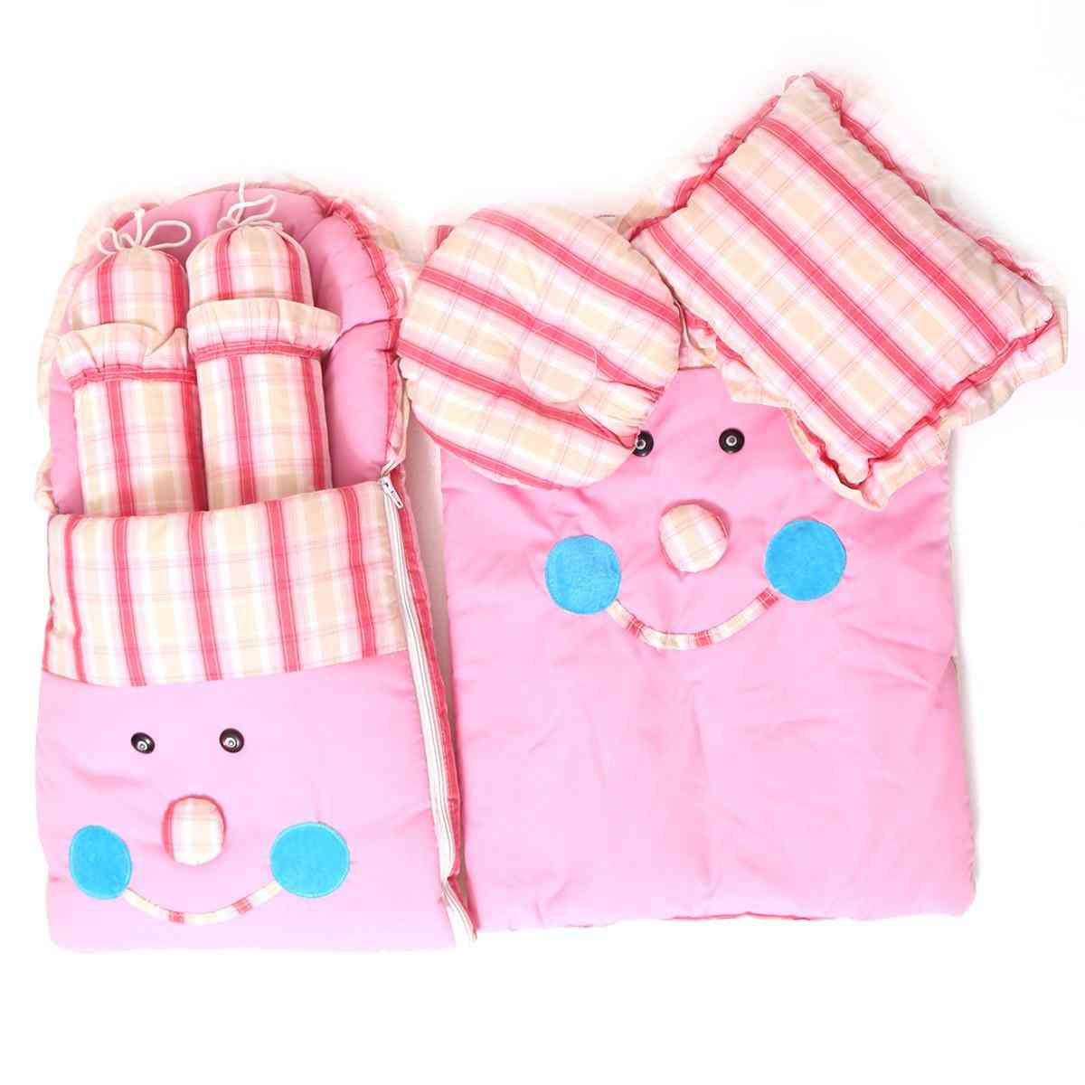 Pack of 7  Full Size Portable Bed Set for Babies with 4 Pillows , Resting Sheet and Baby Carrying Bag (44x38 Inches)  Pink