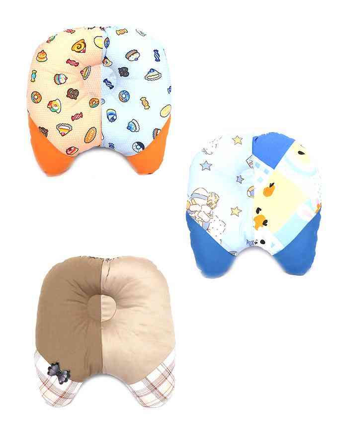 Pack of 3  Soft and Comfortable Pillow for Newborn Babies 9x9 Inch  Multicolour