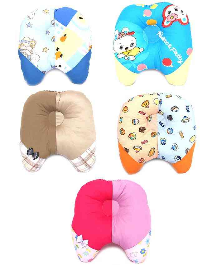 Pack of 5  Soft and Comfortable Pillow for Newborn Babies 9x9 Inch  Multicolour