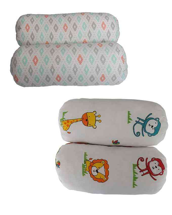 Asaan Bachpan Pack of 4 Soft Foam Pillows for Babies (12 Inch Height)  Multicolour