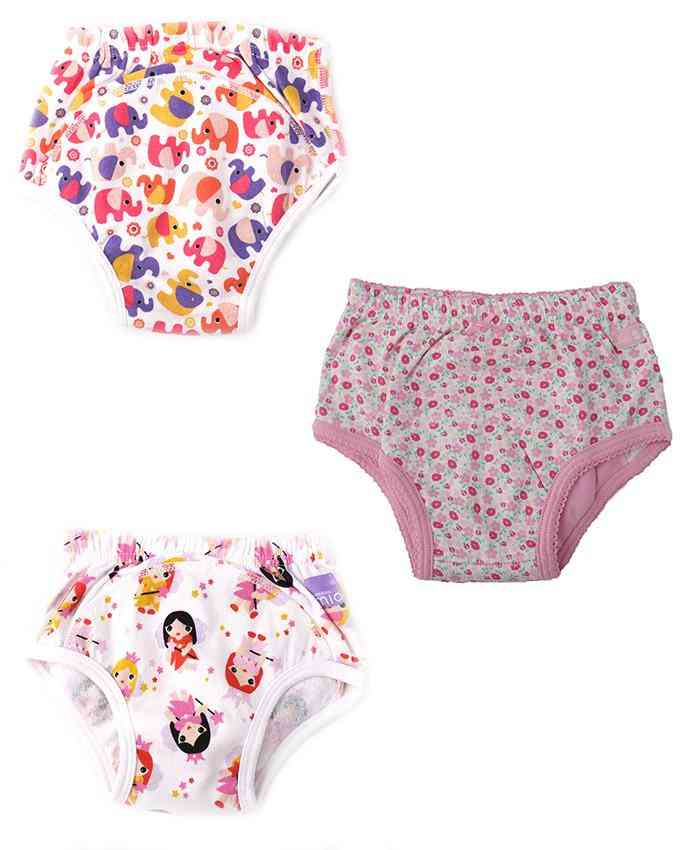 Pack of 3  Soft Padded Underwear for 3 - 6 Year Kids  Multicolour (Girls colours)