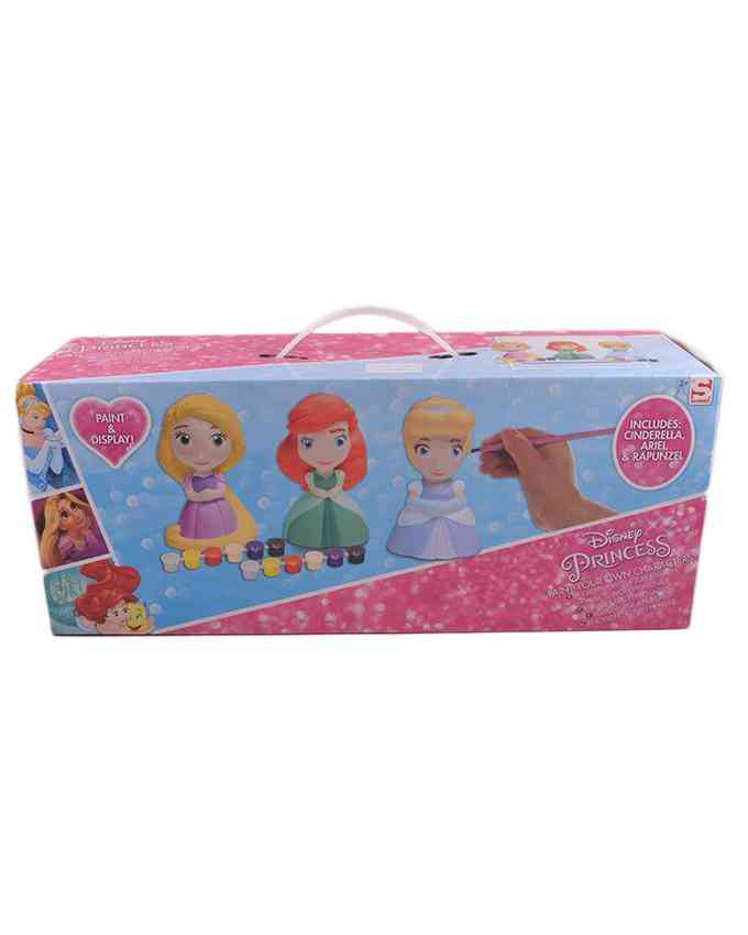 Paint Your Own Princesses Toy for Kids - Includes 3 Characters 12 Paint Boxes and 1 Brush - 3+ Age
