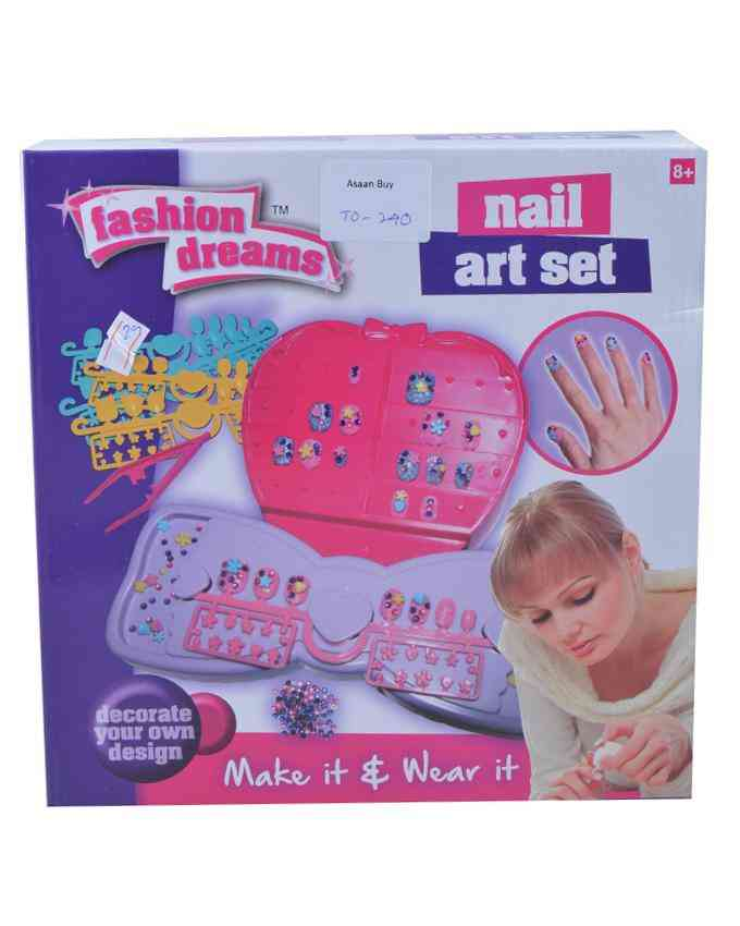 Make Your Own Nail - Nail Art Set (With 240+ Gems, 40+ Nails, Glitter Powder, Stickers) - 10x10 Inch Box