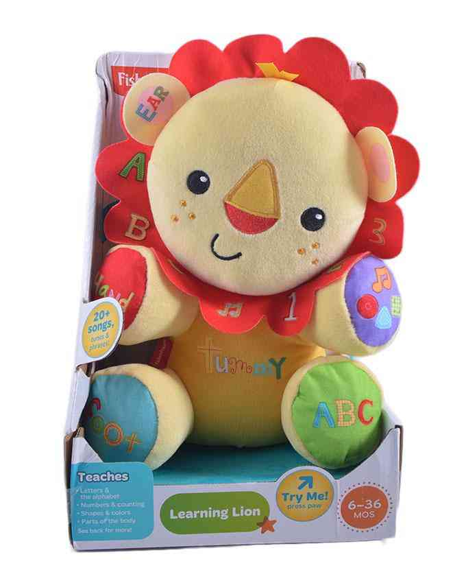 High Quality Fisher Price Learning Lion Stuffed Toy (for teaching baby ABCD, Counting, Colors, Body Parts, Shapes) with 20+ Musical Speeches