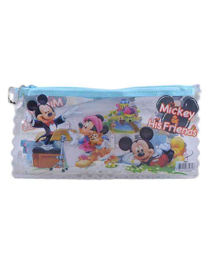 Good Quality Cartoon Character Pencil Box Gift For Kids (Box/ 2 Pencils/ 1 Notebook/ 1 Sharpener/ and 1 Scale) - Mickey Mouse