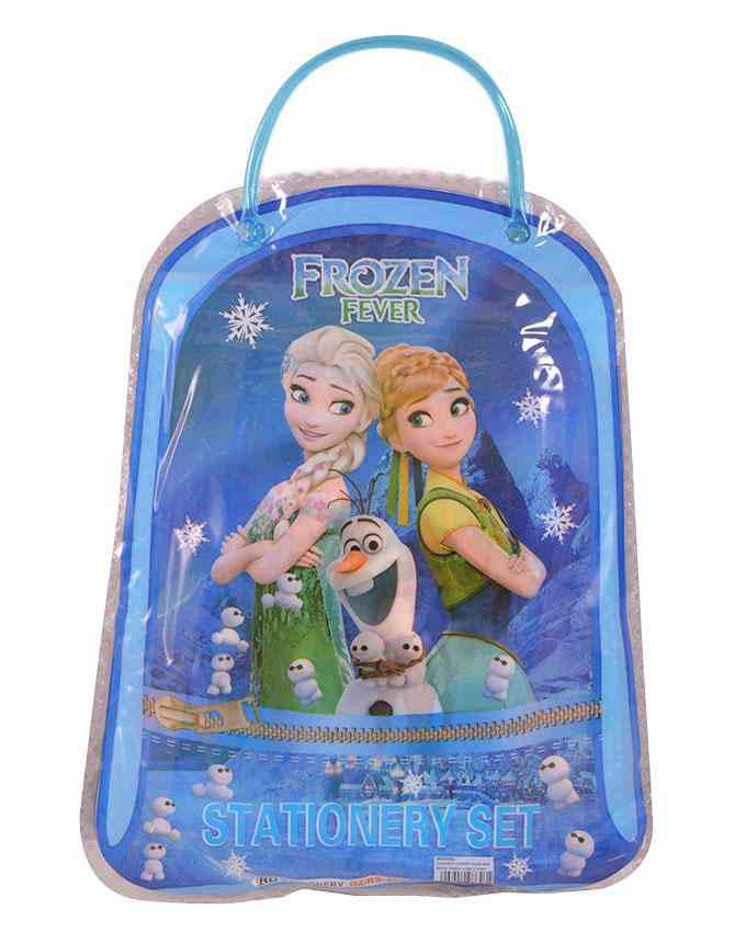 Good Quality Cartoon Character Pencil Box Gift For Kids (Box/ 2 Pencils/ 1 Notebook/ 1 Sharpener/ and 1 Scale) - Frozen - 8x12 Inch Bag