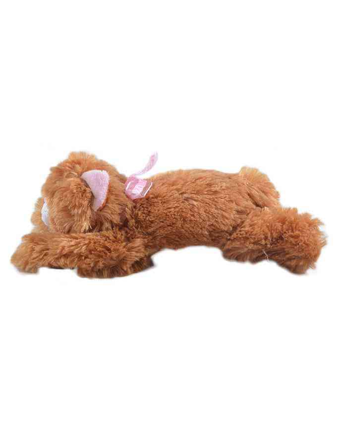 Thick and Good Quality Hairy Soft Stuffed Toy For Kids With Music - Cute Cat - 10 Inch Length - Brown