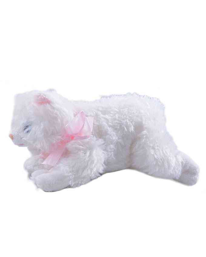 Thick and Good Quality Hairy Soft Stuffed Toy For Kids With Music - Cute Cat - 10 Inch Length - White