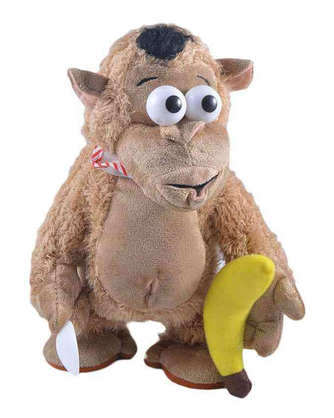Cute Walking and Hand Moving Monkey Stuffed Toy With Music for Kids - 13 Inch (Cries when you take his Banana Away)
