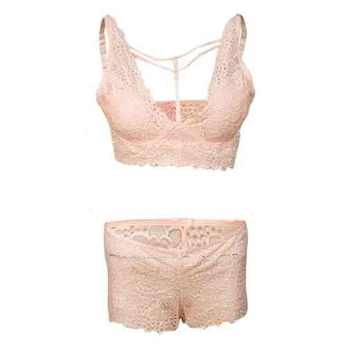 Beautiful Floral Net Bra Panty Set for Newly Weds - Rose