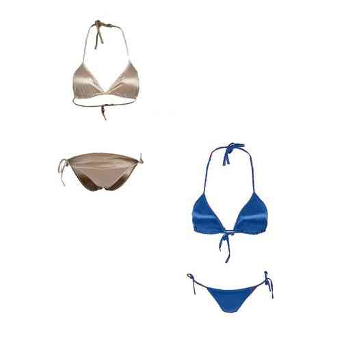 Pack Of 2 - Gold And Blue Satin Silk Bikini Panty And Bra Set