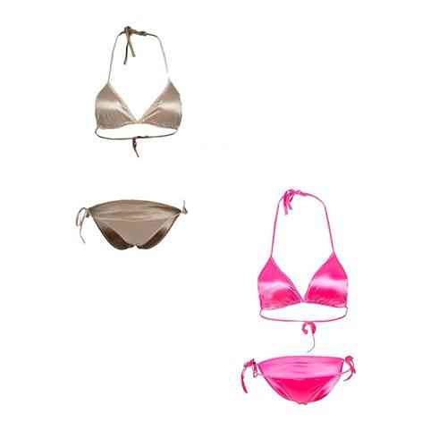 Pack Of 2 - Gold And Pink Satin Silk Bikini Panty And Bra Set