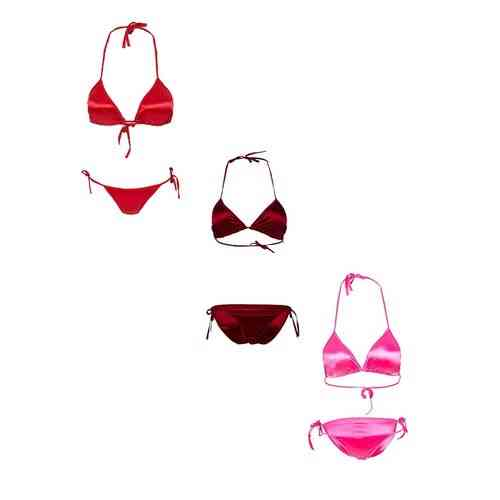 Pack Of 3 - Red Maroon And Pink Satin Silk Bikini Panty And Bra Sets