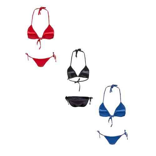 Pack Of 3 - Red Black And Blue Satin Silk Bikini Panty And Bra Sets