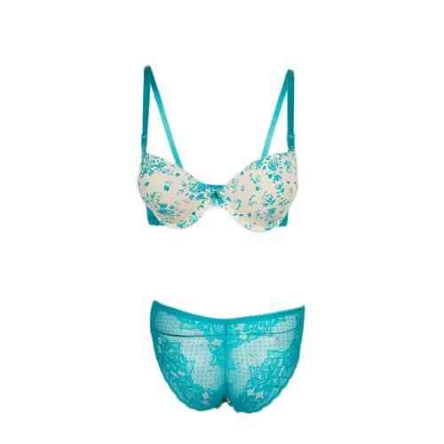 Good Quality Padded Bikini Panty and Bra Set For Women - Green