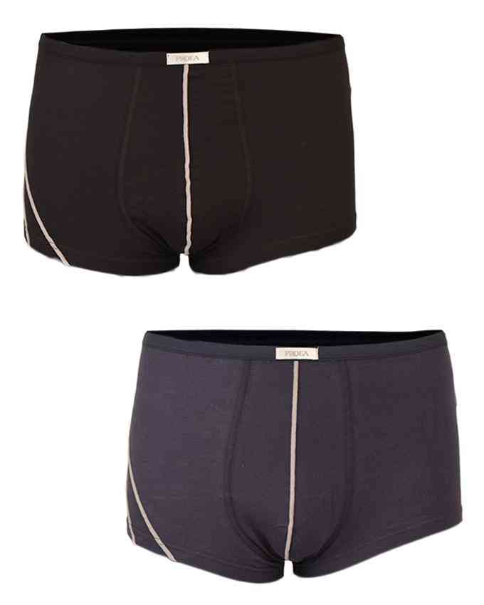 Pack of 2 Cotton Lycra Spandex Boxer for Men (95% Cotton 5% Lycra) - Plain